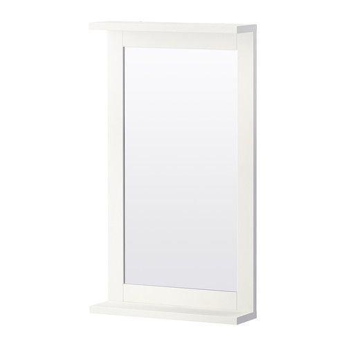 SILVERÅN Mirror with shelf, white