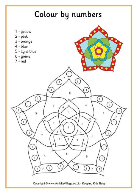 Rangoli colour by number 3 Coloring