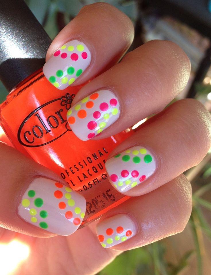 Funky Neon Dots Manicure