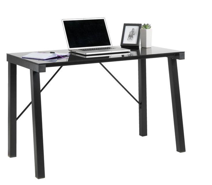 Skrivbord KETTINGE glas/metall svart | JYSK