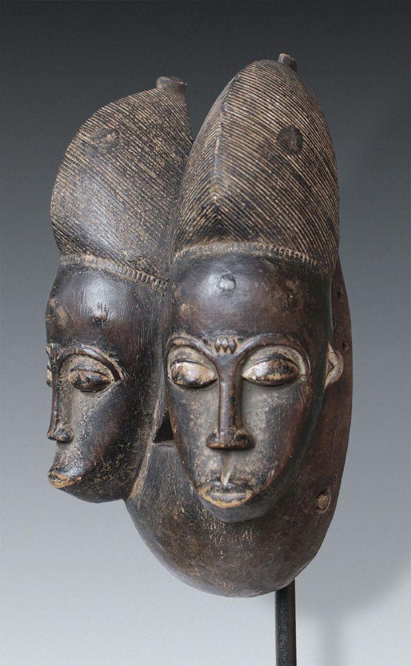 A twin-mask, Baule-Peoples, Ivory Coast