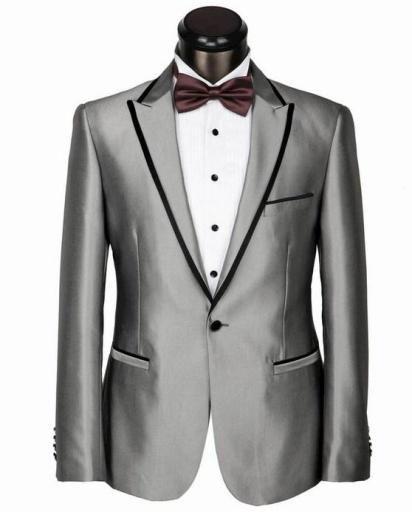 jas keren pria dengan modelnya yang trendi warna silver perak harganya murah meriah kualitas terpercaya cocok digunakan ke acara pernikahan dijual online