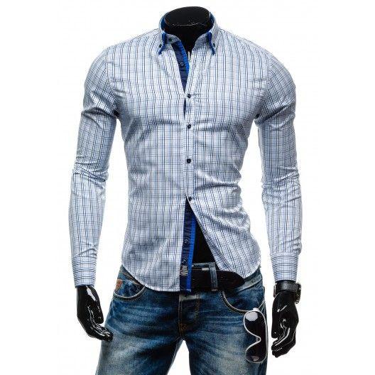 Pánske kockované košele s dlhým rukávom - fashionday.eu