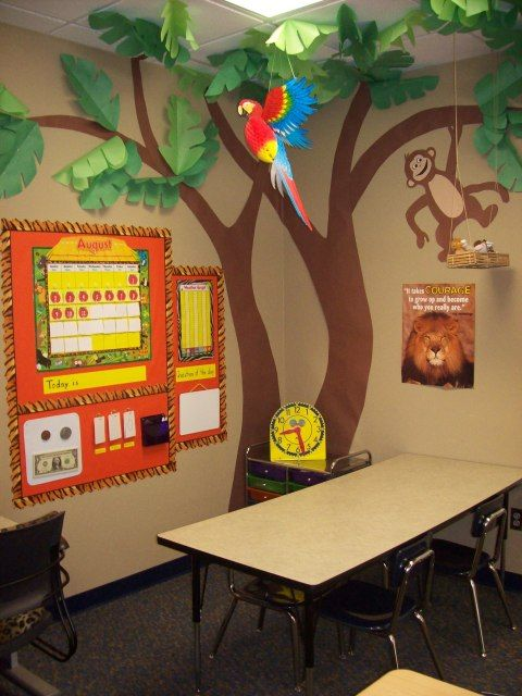 corner tree with monkey. I wish every teacher would take time to do a classroom like this. the kids love it