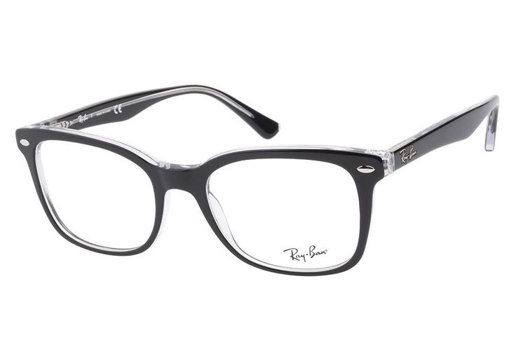 RAY BAN NEW PLASTIC MEN WOMEN RX EYEGLASSES BLACK/CLEAR RB ...