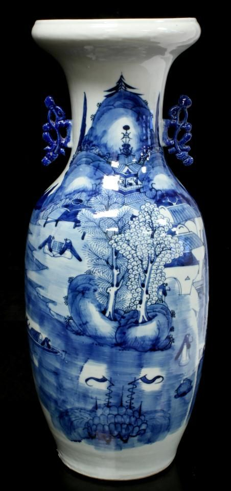 Antique Chinese Blue White Porcelain Vase Hand Painted Phoenix Tail With Coastal Villa