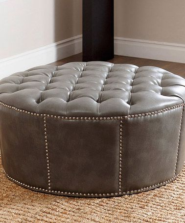 Look what I found on #zulily! Gray Rae Nailhead-Trim Leather Ottoman #zulilyfinds