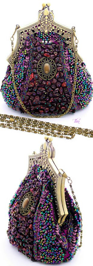 "Art Deco Purple Beaded Evening Bag -- For all the ""purple"" ladies, this one is for you!"