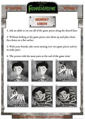 """Frankenweenie"" Memory Card Game #Disney: Frankenweenie Pairs, Frankenweenie Memory, Memory Games, Card Games, Memories, Free Printable, Frakenweenie Memory"