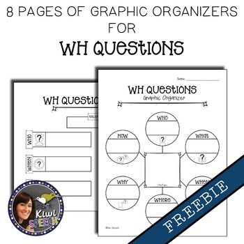 WH Questions Graphic Organizers FREEBIE - visual worksheets to help students answer WH questions
