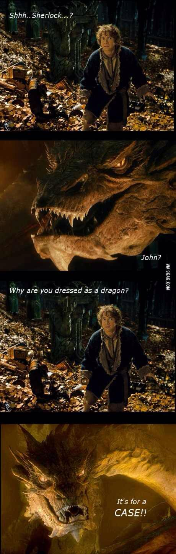 Por que você está disfarçado de dragão? É para um caso (hehehehehe)