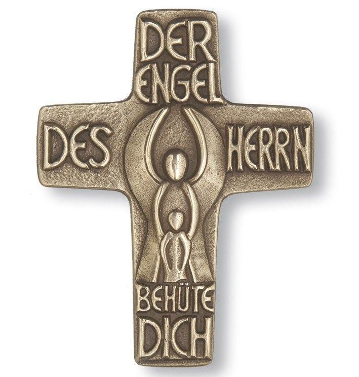 Taufkreuz Schutzengel 13 cm Bronze Wandkreuz 001