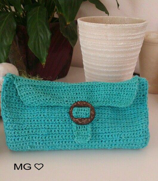 Pochette MG♡ turchese -  lavorata all'uncinetto a maglie basse