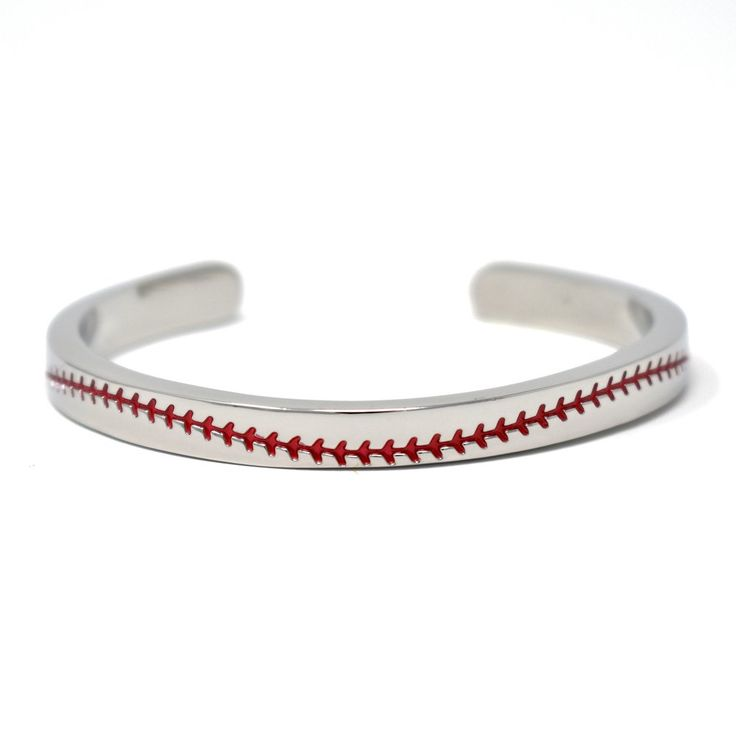 Details: Rhodium plated Baseball seam design Size: One size fitsall - flexible enough to adjust size Shipping: Shipped by USPS First Class Tracking number sent