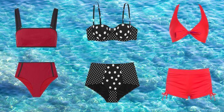costume da bagno a vita alta Ward Whillas, bikini reggiseno a balconcino Dolce&Gabbana, bikini con culotte Yamamay.