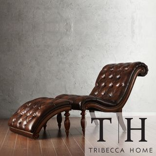 $478 TRIBECCA HOME Bellagio Classic Brown Bonded Leather Tufted Chaise with Ottoman