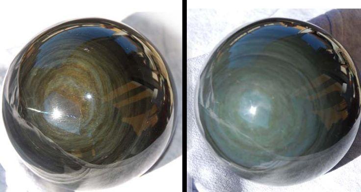 Très puissante pierre protectrice, les obsidiennes oeil céleste permettent d'absorber les énergies négatives et de protéger contre celles ci Un travail avec la sphère d´obsidienne facilite l'extraction des énergies négatives enfouies en nous.