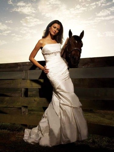 Taffeta Strapless Ruched Bodice Mermaid Wedding Dress