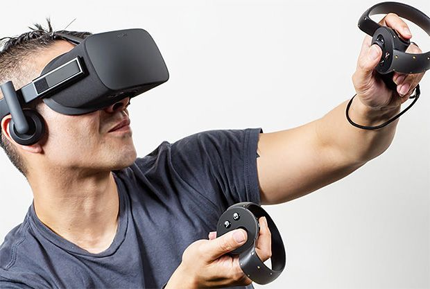 Oculus Rift.  It's official, the hotly anticipated Oculus Rift VR Headset has arrived. Sort of. The company, purchased by Facebook for $2 billion last year, has just unveiled its first consumer-ready headset. They also showed off the circular gesture-driven hand controls called Oculus Touch. The headset features dual OLED screens, built-in headphones, & the Touch controls are designed for a more natural and immersive gaming experience. No specific details yet on price or release date, just…