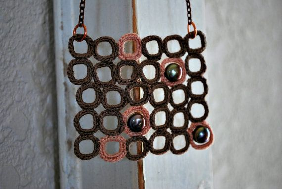 Modern square Ncklace crochet with pearls.  Beige and pale pink.  Light decoration.  Bead Boho style.  Bib