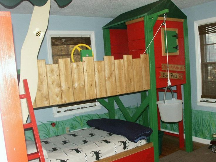 Pin On Kid Rooms: Boys Tree House Bed