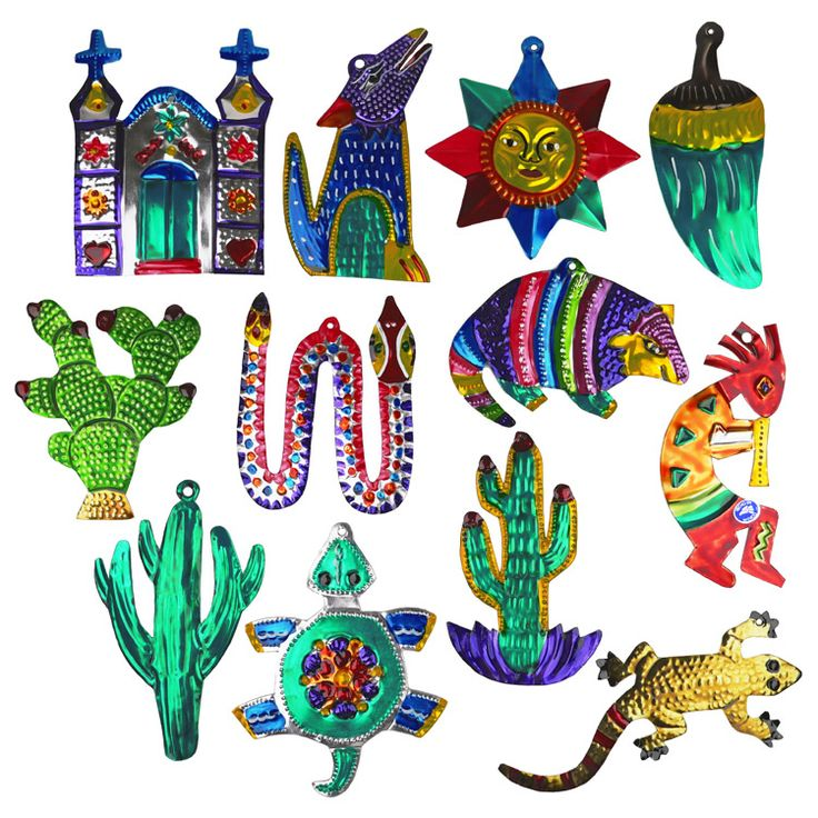 Assorted Painted Tin Southwest Christmas Ornaments Per