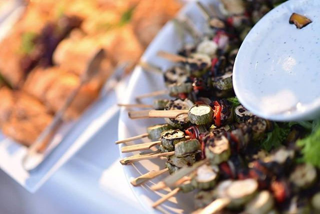 What about something tasty & light? Our suggestion is #grilledveggies on a #skewer with light #yogurtspread ! One of our #fingerfood proposals for hot summer days!