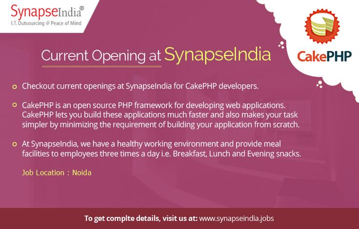 Checkout SynapseIndia current openings for CakePHP developers at Noida location at: https://synapseindiacurrentopeningsnoida.wordpress.com/2017/05/30/synapseindia-current-openings-for-freshers-in-cakephp-web-application-development/