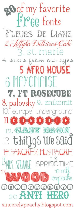 Sincerely Peachy: 20 of my favorite free fonts!