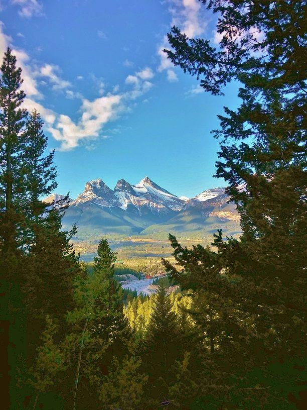Three Sisters Peak - framed from Mt Lady MacDonald Trail