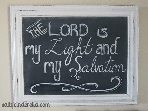 winter chalkboard, chalkboard verse, The Lord is my light