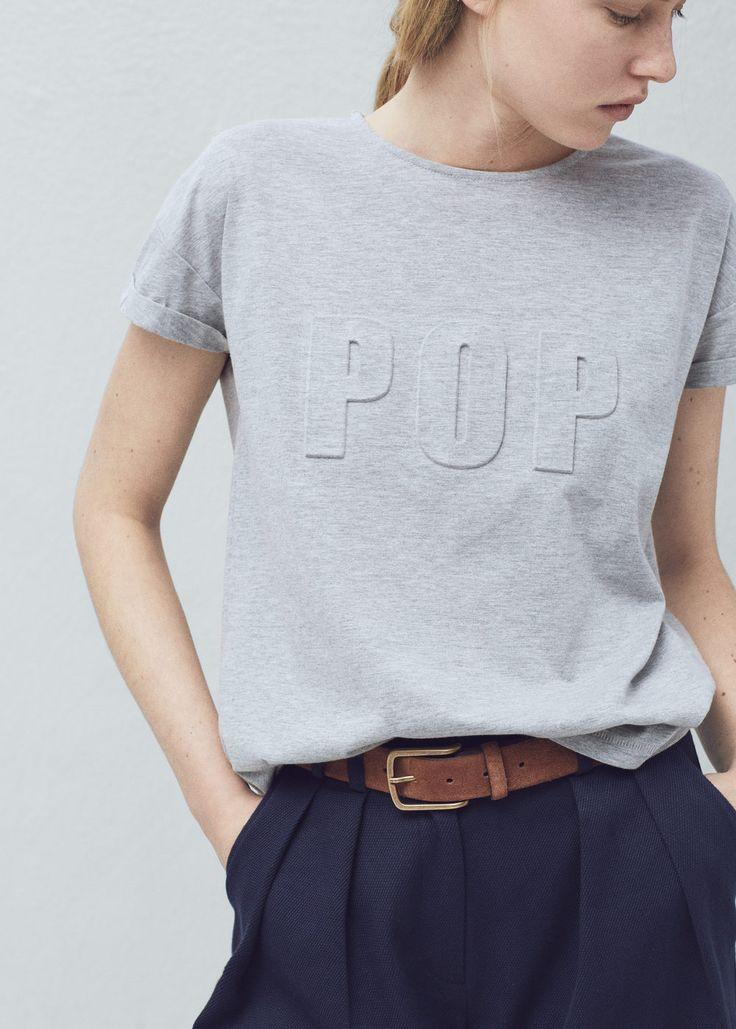 Katoenen T-shirt met reliëf