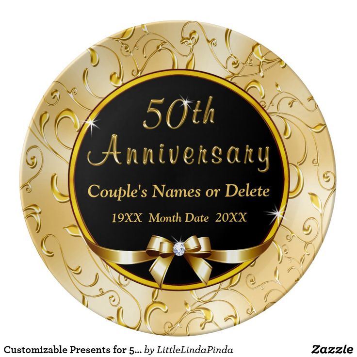 Customizable 50th Anniversary Gifts for Parents, Grandparents, Husband and Wife 50th Anniversary Plate CLICK: https://www.zazzle.com/z/ojiaq?rf=238147997806552929 Personalised 50th Wedding Anniversary Gifts for Mum and Dad or Couple's NAMES and DATE(S). Call Zazzle Designer Linda for design, year, color, product CHANGES: 239-949-9090 More customizable golden wedding anniversary gift ideas for parents CLICK…
