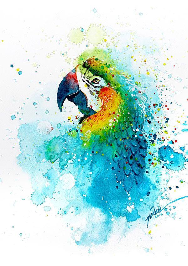 Papegaai  aquarel  A4 A3  kunst afdrukken