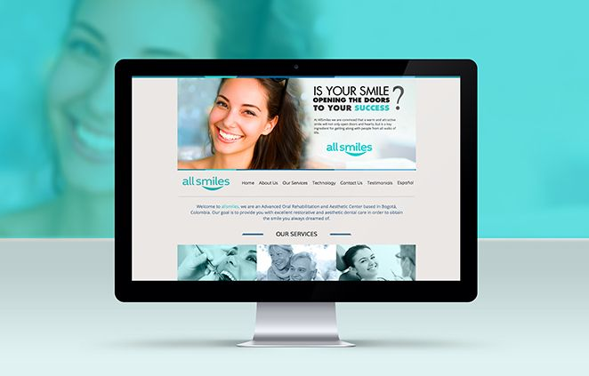Diseño de página web para All Smiles implementado sobre Wordpress, es un sitio de Rehabilitación Oral Avanzada y Estética Dental
