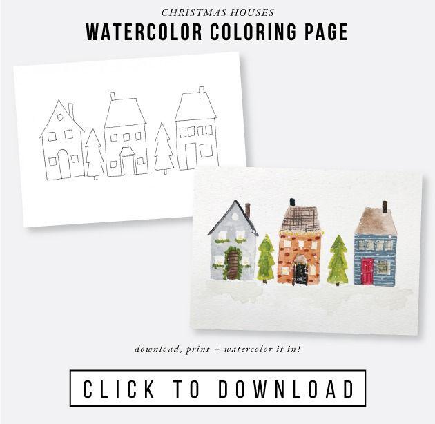 Free Printable Christmas Houses Watercolor Coloring Page Jones Design  Company Watercolor Printable Free, Watercolor Christmas Cards, Free  Christmas Printables