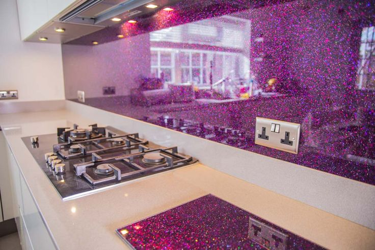 """PURPLE HAZE"" Exclusive designer glass kitchen splashbacks by CreoGlass. We design, manufacture and fit custom made non-scratch, ice-cracked glass kitchen and bathroom splashbacks. For more kitchen glass splashback, mirror and non-scratch glass worktop ideas please visit our website www.creoglass.co.uk."