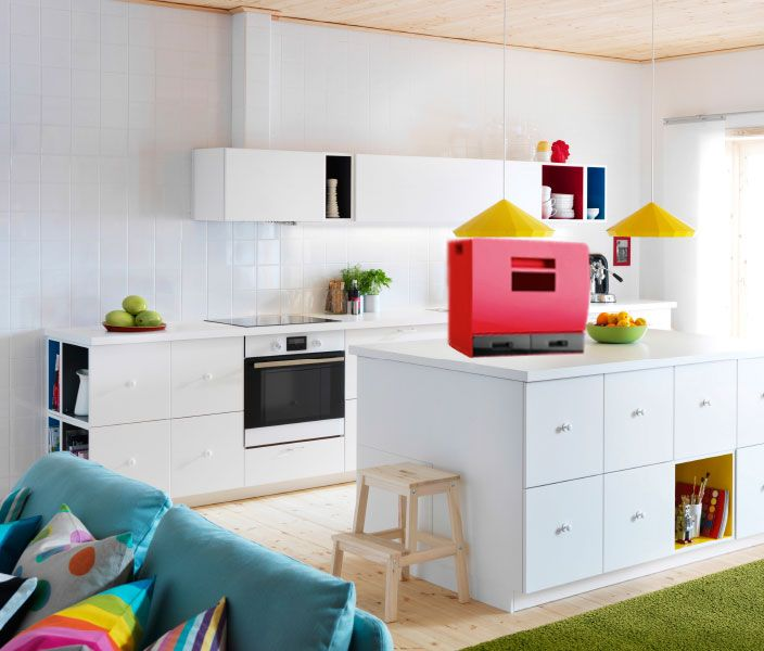 Cute Modern IKEA kitchen ideas with white doors drawers and worktops and coloured TUTEMO open cabinets