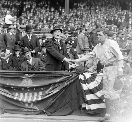 baseballHistory, Shakes Hands, Presidents Warren, Babe Ruth, Yankee Stadium, Ruth Shakes, Yankees Stadium, Warren Hard, Babes Ruth