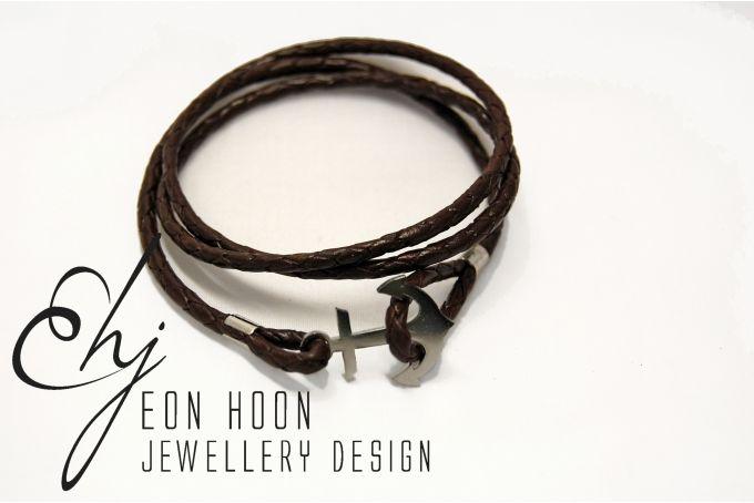 Leather Wrap Anchor Bracelet by Eon Hoon Jewellery Design