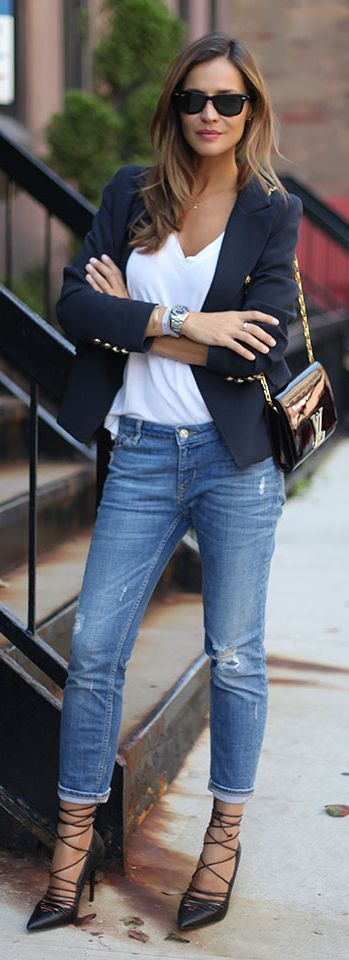 Navy Military Blazer Fall Inspo by LadyAddict