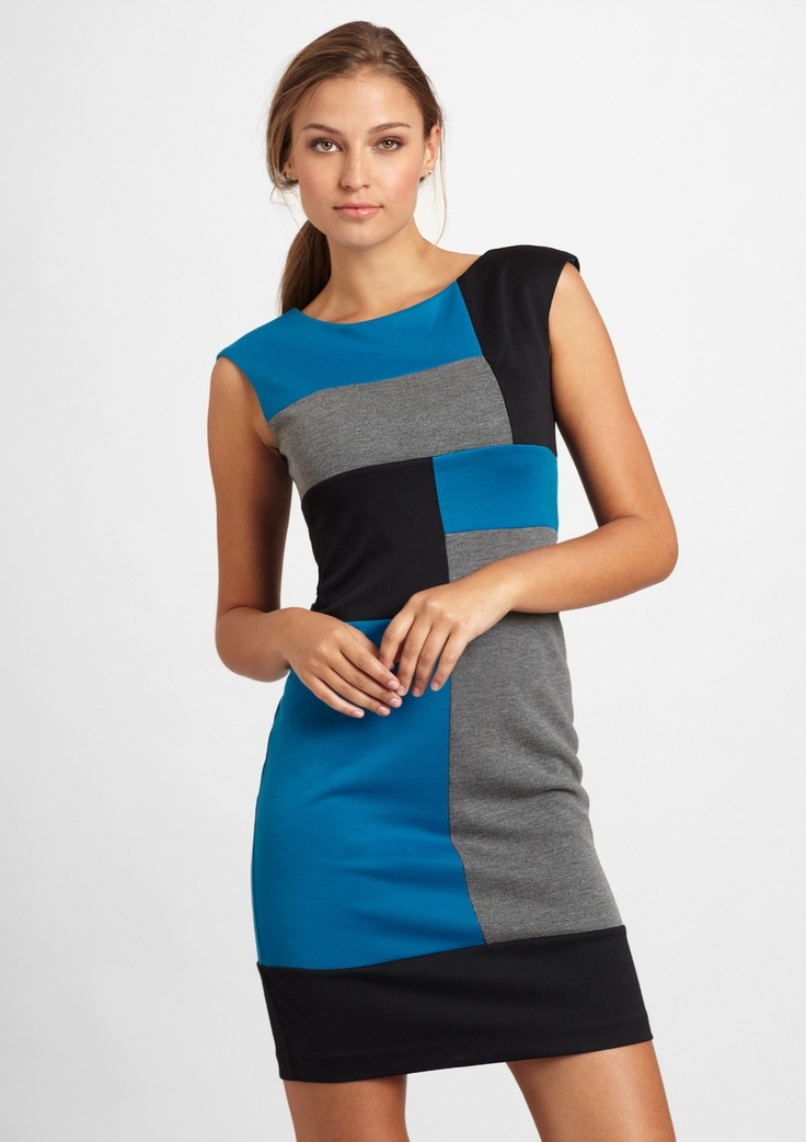 london times pointe cap sleeve colorblock sheath dress --I need this.