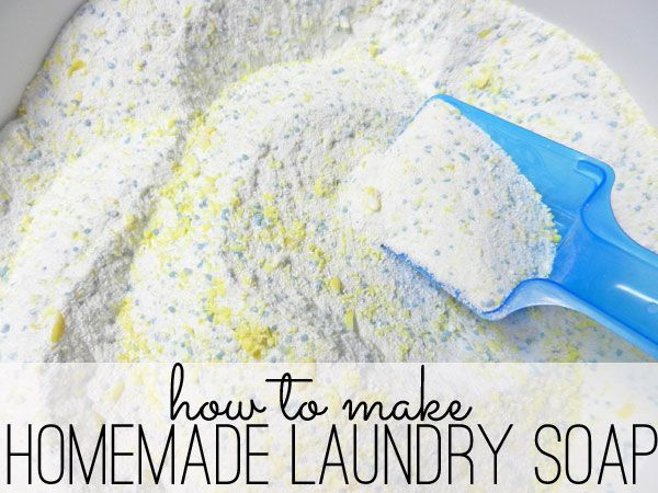 An easy recipe to make your own homemade laundry soap. Really simple process for the powdered version of laundry detergent.