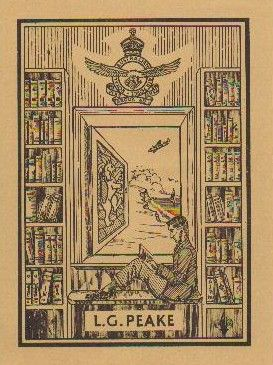 Bookplate by Archibald John (known as Jack) Peake for L G Peake (AGP's father, 1947