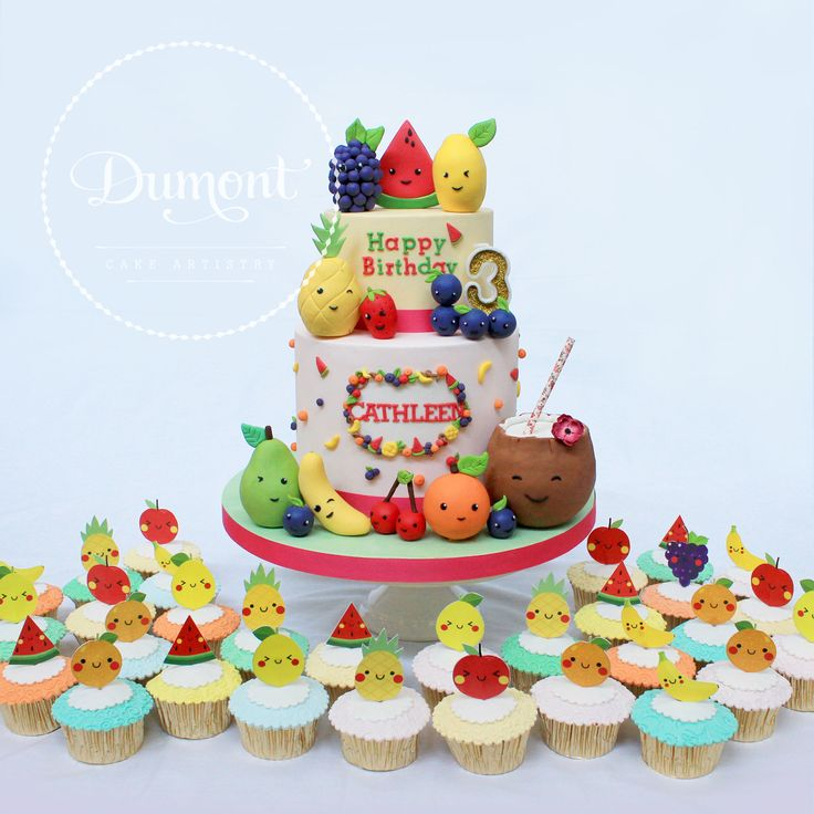 Tutti frutti themed cake with matching cupcakes for Cathleen's 3rd birthday