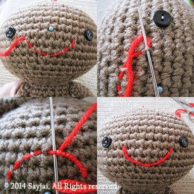Sayjai amigurumi crochet patterns ~ K and J Dolls / K and J Publishing: How to embroider mouth