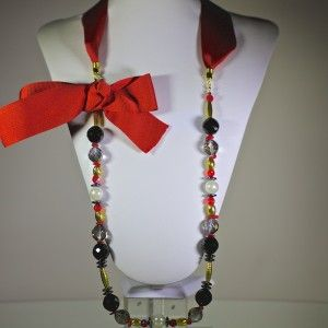 Red ribbon necklace with semi precious stones and Czech glass beads