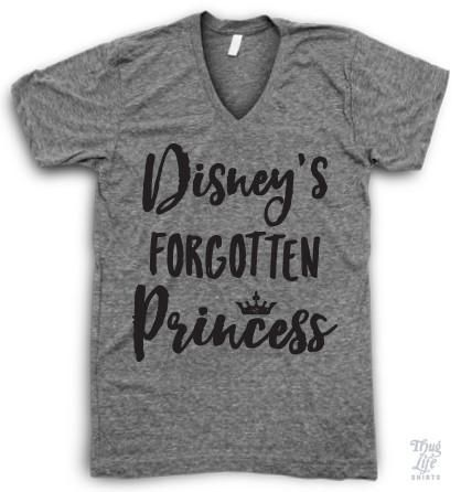 Disney's forgotten princess! Digitally printed on an Athletic tri-blend V Neck shirt. You'll love it's classic fit and ultra-soft feel. 50% Polyester / 25% Rayon / 25% Cotton. Each shirt is printed to