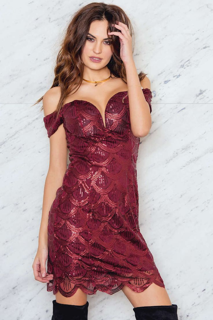 Sequin Bardot Mini Dress