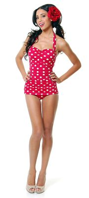 Vintage Inspired Swimsuit 50's Style Pin Up Red With White Polka Dot Bathing Suit - 6-18